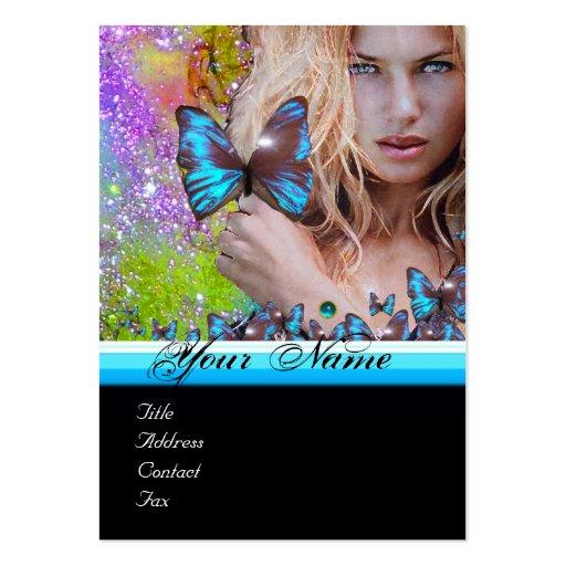 BLUE BUTTERFLY HAIR BEAUTY MAKEUP ARTIST monogram Business Cards