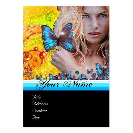 BLUE BUTTERFLY HAIR BEAUTY MAKEUP ARTIST monogram Business Card Template