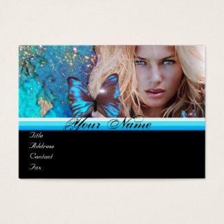 BLUE BUTTERFLY HAIR BEAUTY MAKEUP ARTIST monogram Business Card
