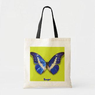 Blue Butterfly Handbag Tote Bag