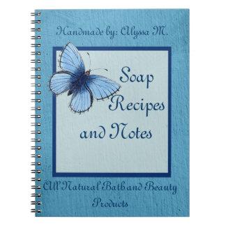 Blue Butterfly Handmade Soap Spiral Notebook