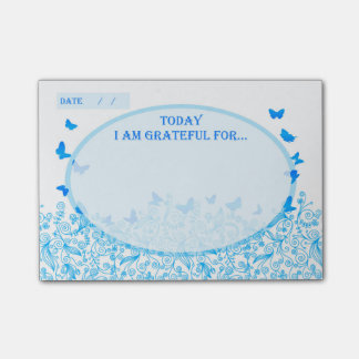 Blue Butterfly Helpful Healing Self Help Gratitude Post-it Notes