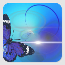 Blue Butterfly Image Square Sticker
