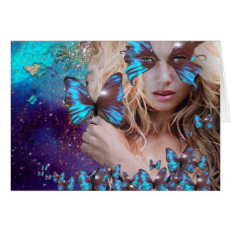 BLUE BUTTERFLY IN TEAL GREEN GOLD SPARKLES CARD