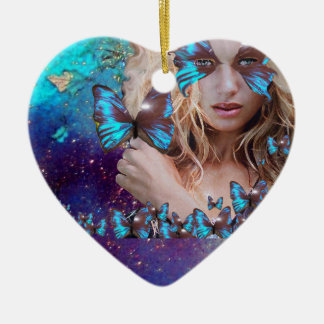BLUE BUTTERFLY IN TEAL GREEN GOLD SPARKLES HEART Double-Sided HEART CERAMIC CHRISTMAS ORNAMENT