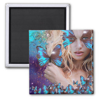 BLUE BUTTERFLY IN TEAL GREEN GOLD SPARKLES MAGNET