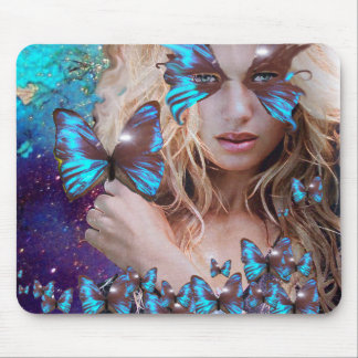 BLUE BUTTERFLY IN TEAL GREEN GOLD SPARKLES MOUSE PAD