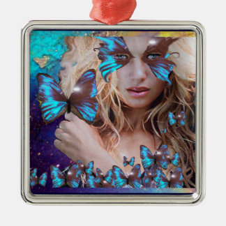 BLUE BUTTERFLY IN TEAL GREEN GOLD SPARKLES SQUARE METAL CHRISTMAS ORNAMENT