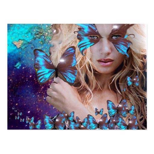 BLUE BUTTERFLY IN TEAL GREEN GOLD SPARKLES POSTCARD
