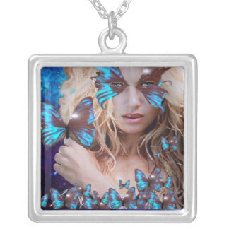 BLUE BUTTERFLY IN TEAL GREEN GOLD SPARKLES SQUARE PENDANT NECKLACE