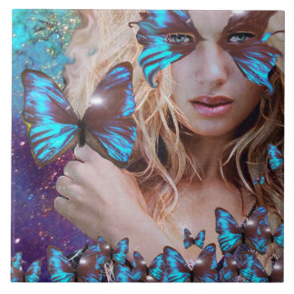 BLUE BUTTERFLY IN TEAL GREEN GOLD SPARKLES LARGE SQUARE TILE