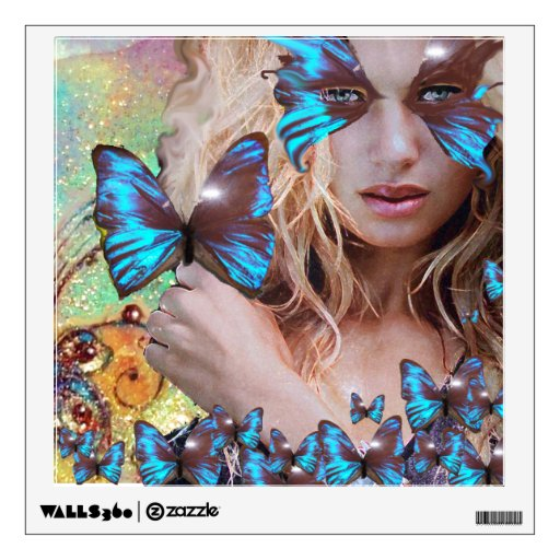 BLUE BUTTERFLY IN TEAL GREEN GOLD SPARKLES WALL GRAPHIC
