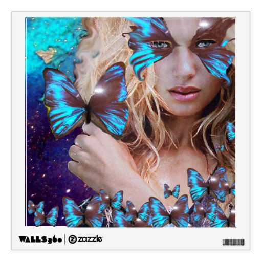 BLUE BUTTERFLY IN TEAL GREEN GOLD SPARKLES WALL DECAL