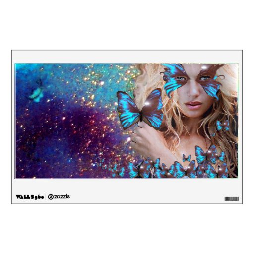 BLUE BUTTERFLY IN TEAL GREEN GOLD SPARKLES ROOM GRAPHICS