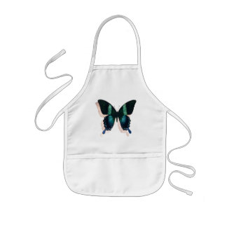 """""""Blue Butterfly"""" Insect Watercolor Art Kids' Apron"""