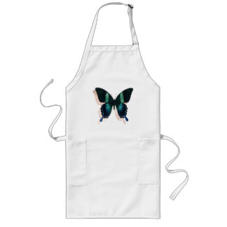 """""""Blue Butterfly"""" Insect Watercolor Art Long Apron"""