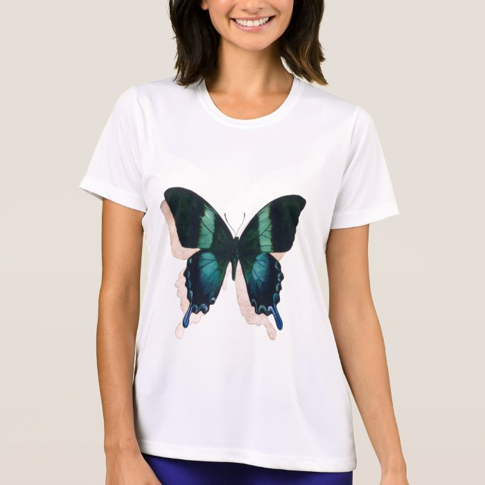 """Blue Butterfly"" Insect Watercolor Art T-Shirt"