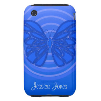 Blue butterfly iPhone 3G/3GS Case-Mate Tough iPhone 3 Cover