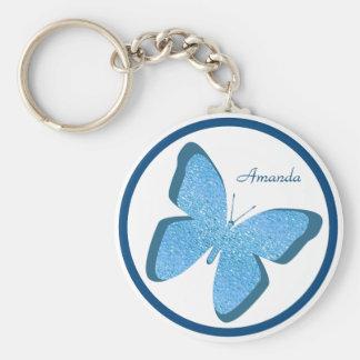 Blue Butterfly Jewel Personalized Keychain