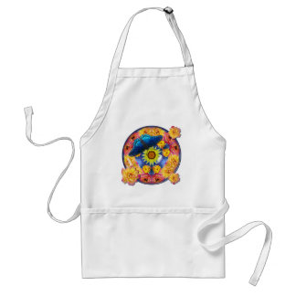 Blue Butterfly Kaleidoscope floral Adult Apron