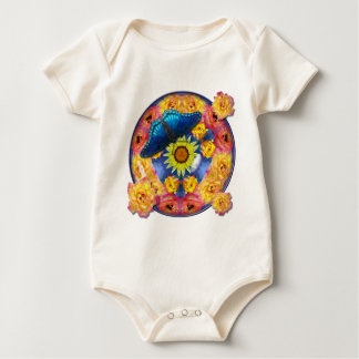 Blue Butterfly Kaleidoscope floral Baby Creeper
