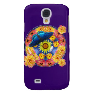Blue Butterfly Kaleidoscope floral Galaxy S4 Covers