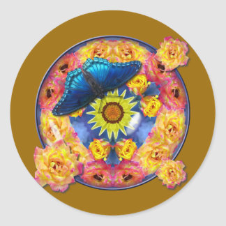 Blue Butterfly Kaleidoscope floral Classic Round Sticker