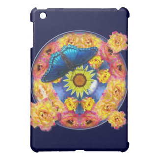 Blue Butterfly Kaleidoscope floral Cover For The iPad Mini