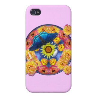 Blue Butterfly Kaleidoscope floral iPhone 4/4S Cover