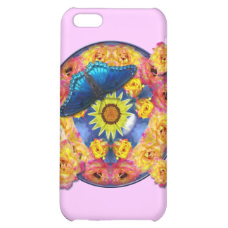 Blue Butterfly Kaleidoscope floral Cover For iPhone 5C