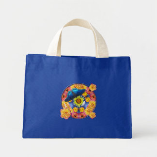 Blue Butterfly Kaleidoscope floral Mini Tote Bag