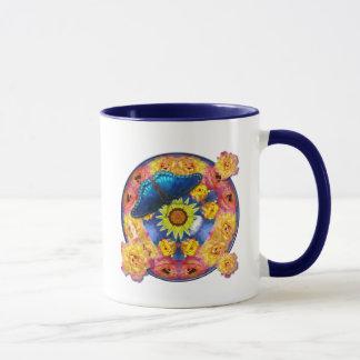Blue Butterfly Kaleidoscope floral Mug