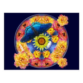 Blue Butterfly Kaleidoscope floral Postcard
