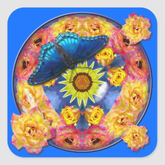 Blue Butterfly Kaleidoscope floral Square Sticker