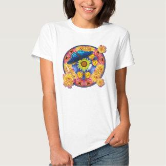 Blue Butterfly Kaleidoscope floral Tee Shirt