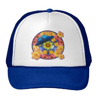 Blue Butterfly Kaleidoscope floral Trucker Hat