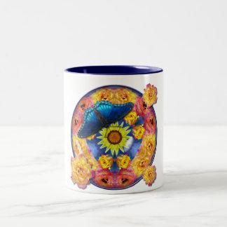 Blue Butterfly Kaleidoscope floral Two-Tone Coffee Mug