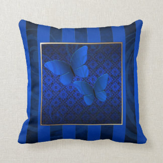Blue Butterfly Kisses Pinstripe Pillow
