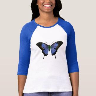 Blue Butterfly Ladies 3/4 Sleeve Raglan T-Shirt