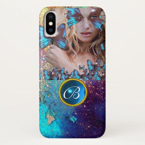BLUE BUTTERFLY LADY,TEAL GOLD SPARKLE GEM MONOGRAM Phone Case
