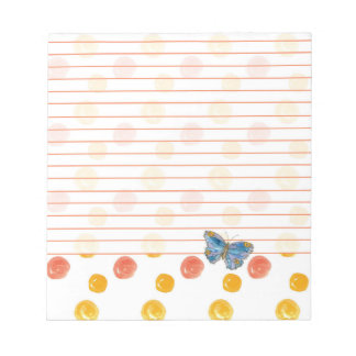 Blue Butterfly Lined Orange Polka Dots Notepad