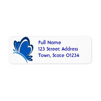 Blue Butterfly Mailing Label