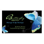 Blue Butterfly Massage Therapy Appointment Cards Double-Sided Standard Business Cards (Pack Of 100)