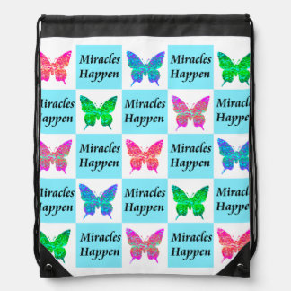 BLUE BUTTERFLY MIRACLES HAPPEN DESIGN DRAWSTRING BACKPACK