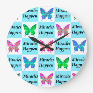 BLUE BUTTERFLY MIRACLES HAPPEN DESIGN LARGE CLOCK