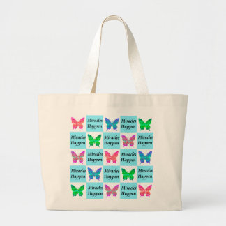 BLUE BUTTERFLY MIRACLES HAPPEN DESIGN LARGE TOTE BAG