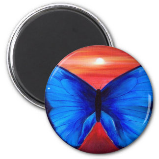 Blue Butterfly Morph Sunset - Multi 2 Inch Round Magnet