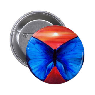 Blue Butterfly Morph Sunset - Multi 2 Inch Round Button