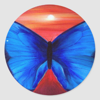 Blue Butterfly Morph Sunset - Multi Classic Round Sticker