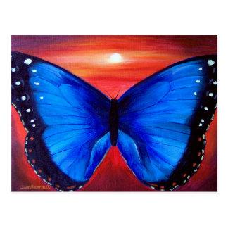 Blue Butterfly Morph Sunset - Multi Postcard